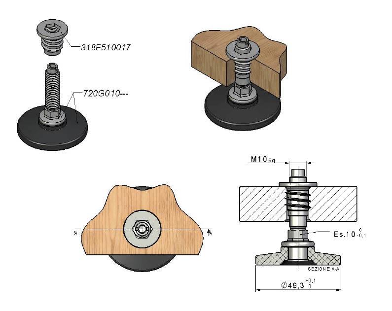 verstellbarer sockelfu m10 gewinde f hein gmbh. Black Bedroom Furniture Sets. Home Design Ideas